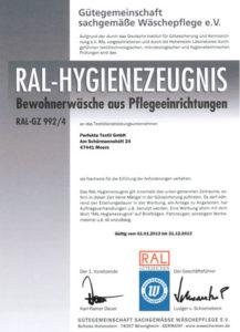 RAL Zertifikat Bewohnerwäsche