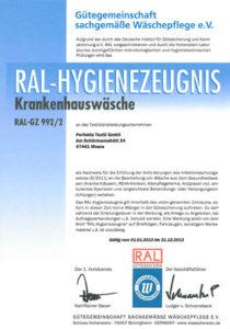 RAL Zertifikat Krankenhauswäsche