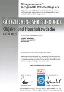 RAL Zertifikat Objektwäsche